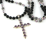 Black Onyx and Amethyst Cross Necklace